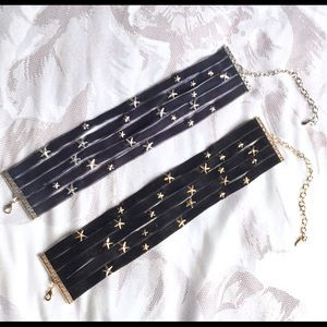 Free People Star Choker Necklaces- Set of 2